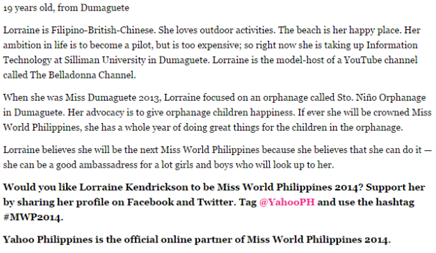 The 411 on Lorraine Kendrickson, with her advocacy highlighted (Photo grabbed from the Yahoo Philippines Readers Choice by Kai Magsanoc)