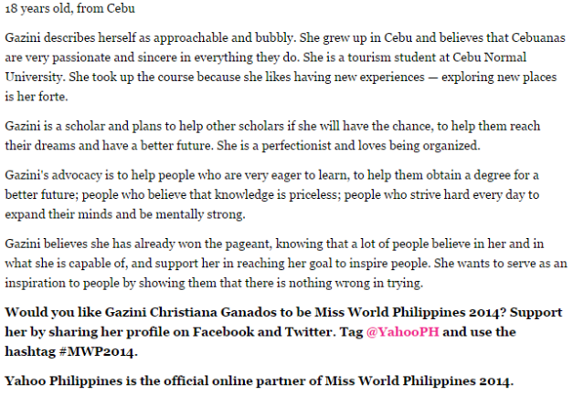 The 411 on Gazini Ganados, with her advocacy highlighted (Photo grabbed from the Yahoo Philippines Readers Choice by Kai Magsanoc)