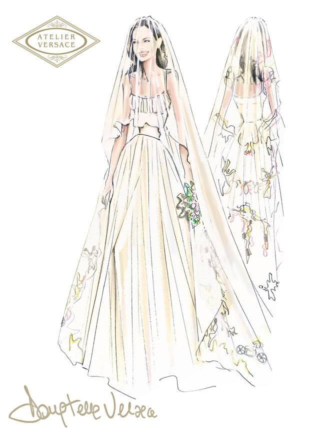 The Atelier Versace sketch of Angelina's wedding gown