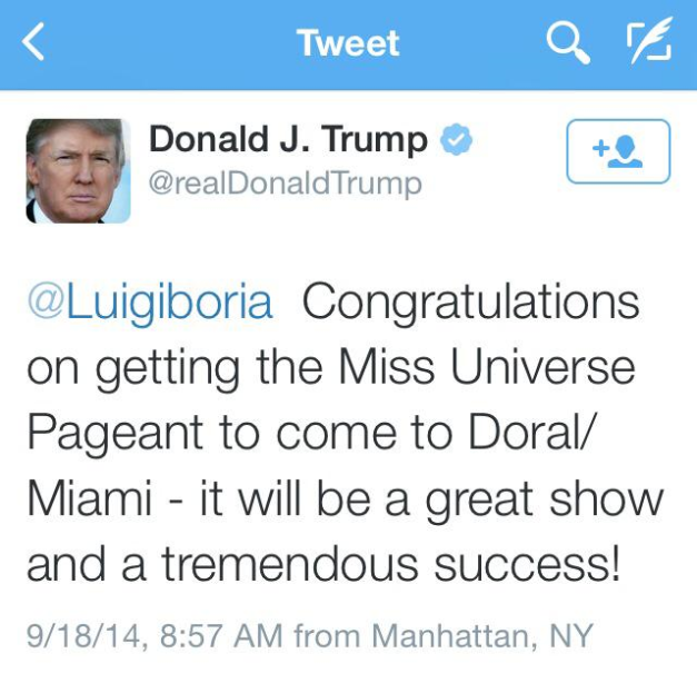 Are you relieved that The Real Donald Trump tweeted the host city himself or do you still have doubts?