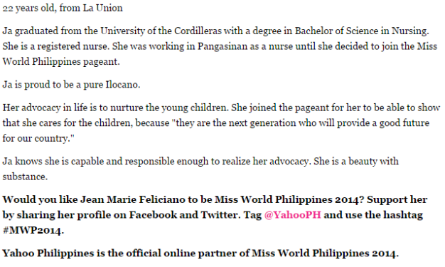 The 411 on Jean Marie Feliciano. Support her in the Yahoo Philippines' Readers Choice by following the instructions above.
