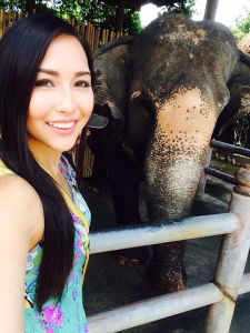 Kimberly posing with an elephant