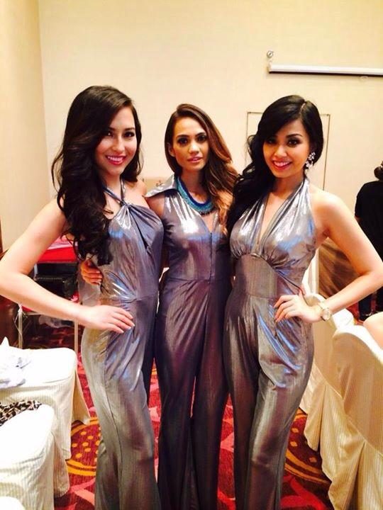 During wardrobe fittings for the opening number (left to right): Kimberly, Miss Australia Renera Thompson and Miss Indonesia Margenie Winarti