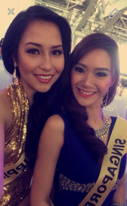 Miss Philippines Kimberly Karlsson and her roommate Miss Singapore Jasy ln Tan