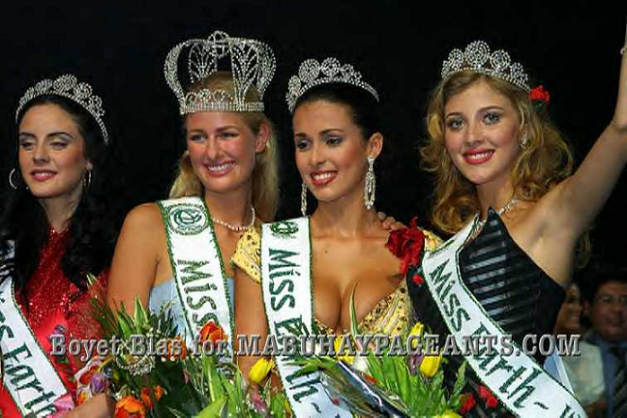 The first elemental beauties (left-to-right): Miss Fire 2001 Daniela Stucan of Argentina, Miss Earth 2001 Catharina Svensson of Denmark, Miss Air 2001 Simone Regis of Brazil and Miss Water 2001 Margarita Kravtsova of Kazakhstan (Photo credit: Boyet Blas for Mabuhay Pageants)