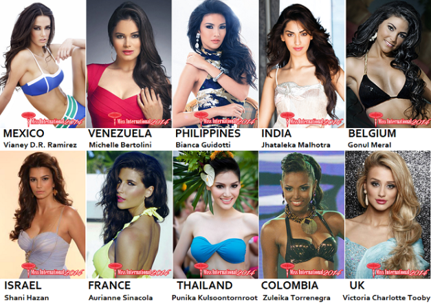 My early Top 10 picks for Miss International 2014. The list can definitely change as the competition progresses.