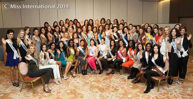 The sixty (60) candidates of Miss International 2014 with last year's winner Bea Rose Santiago (center)