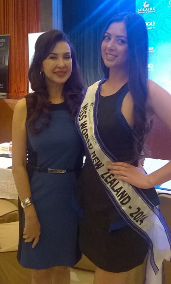 Miss World New Zealand 2014 Arielle Garciano (right) and Ms. Cory Quirino of MWP