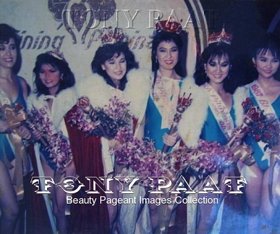 Bb. Pilipinas 1987 winners (left to right): 1st Runner-Up Angela Larrazabal, Avon Garcia (Tourism), Maria Luisa Jimenez (Maja), Geraldine Asis (Universe), Maria Lourdes Enriquez (International) and 2nd Runner-Up Rosabelle Adriano (Photo credit: Tony Paat)