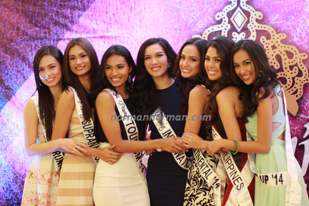 Bb. Pilipinas International 2014 Bianca Guidotti (center) with the Bb. Pilipinas 2014 Queens during the send-off to Miss International 2014