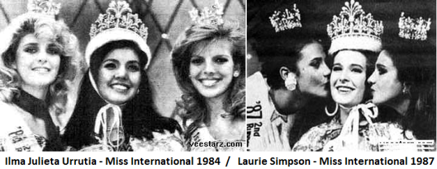 Coming from Miss Universe placements back in 1984 and 1987, Ilma Julieta Urrutia and Laurie Simpson went on to win Miss International in the same years, respectively.