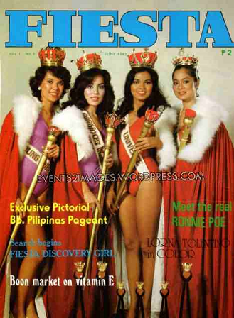 Lisa (2nd from left) with her fellow Bb. Pilipinas 1982 titleholders (left to right); Miss Young Pilipinas Sharon Hughes, Bb. Pilipinas Universe Maria Isabel Lopez and Miss Maja Pilipinas Nanette Cruz (Photo credit: events2images.wordpress.com)