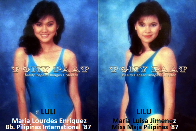 Two of the four Bb. Pilipinas 1987 titleholders are interestingly nicknamed Luli and Lilu (Photo credit: Tony Paat)
