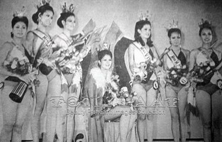 The winners of Miss Republic of the Philippines 1974 (with Evangeline Pascual sitting on the throne) Photo credit: Tony Paat