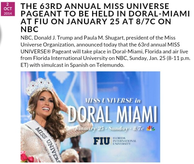 If it's on the Miss Universe website, it must be final.