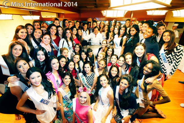 The Miss International 2014 contestants during their sushi party inside Sushi-Zanmai in Tokyo.