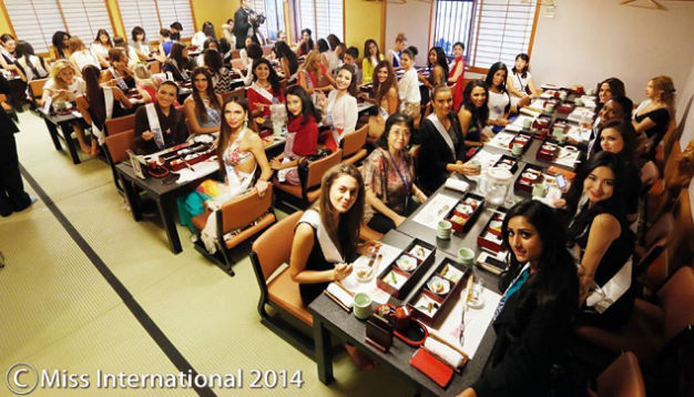 All the Miss International 2014 ladies filled Sushi-Zanmai's dining area
