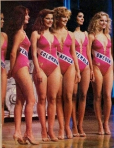 Ilma julieta (2nd from right) during the MU1984 Top 10 Swimsuit Competition