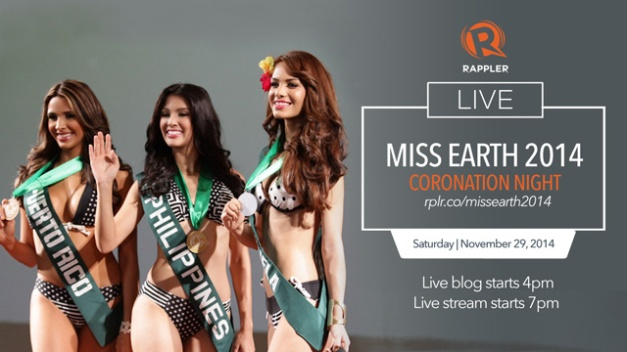 Tune in to Rappler for the entire night as they cover Miss Earth 2014 LIVE!