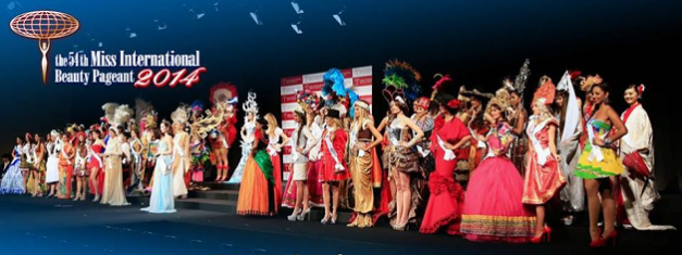 The Miss International 2014 Contestants in their National Costumes