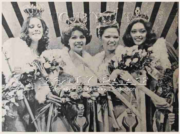 Bb. Pilipinas Universe 1977 Anna Lorraine Kier (2nd from left) with the other winners that year (left to right:) Miss Young Pilipinas Dorothy Sue Bradley, the late Bb. Pilipinas International Pinky Alberto and Miss Maja Pilipinas Bambi Arambulo (Photo credit: Tony Paat)