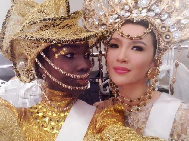 Miss Guyana Ruqayyah Boyer (left) and Miss Philippines Bianca Guidotti during the Miss International 2014 National Costume Press Conference