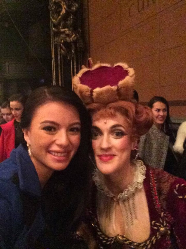 Valerie with one of the Phantom of the Opera performers in London's West End