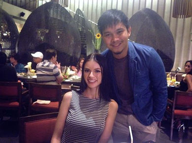 Jojo Bragais (right) with one of his most successful shoe muses, Miss World Philippines 2014 Valerie Weigmann
