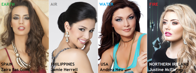 The four (4) ladies above are my final choices to claim the elemental crowns of Miss Earth 2014