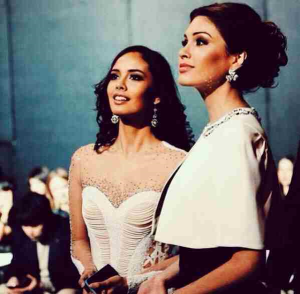 Miss World 2013 Megan Young and Miss Universe 2013 Gabriela Isler during their together time for Miss Russia 2014
