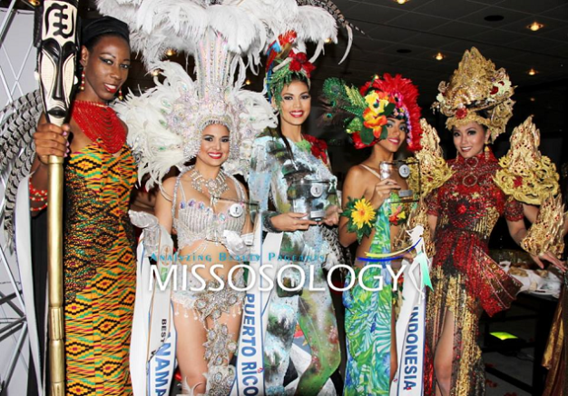 Top 5 in National Costume are (left to tight): Ghana, Panama, Puerto Rico, Costa Rica & Indonesia (Photo credit: Missosology)