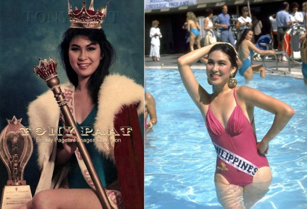 Pebbles Asis as Bb. Pilipinas Universe 1987 (left and courtesy of Tony Paat) & during Miss Universe 1987 in Singapore.