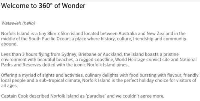 How true there will be a miss norfolk island in me2015 image screenshot from the tourism website of norfolk island sciox Images