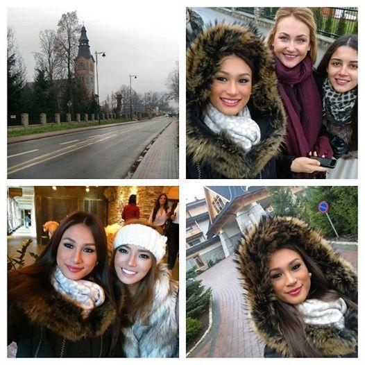 Miss Philippines Yvethe Santiago enjoying Białka Tatrzańska with Misses Great Britain, Finland and Ukraine