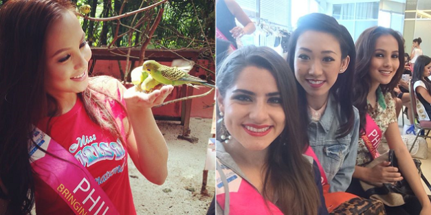 Feeding birds in Langkawi (left) and preparing for a fashion show in KL Sogo