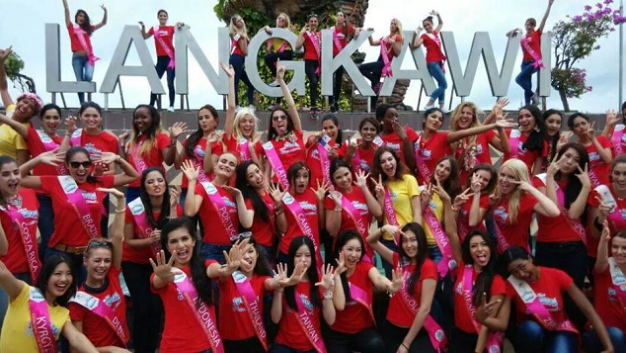 Miss Philippines (3rd row, 5th from left) with the other candidates of Miss Tourism International 2014 in Langkawi, Malaysia