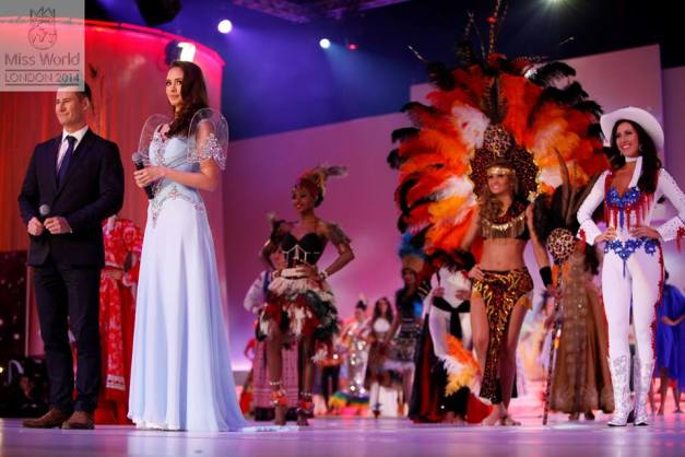 Megan wore this Leo Almodal during the opening of Miss World 2014