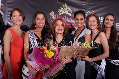 Miss Universe Philippines 2009 Bianca Manalo, Miss Universe Philippines 2014 MJ Lastimosa, BPCI Chairperson Madame Stella Marquez de Araneta, Miss Universe 2010 4th Runner Up Venus Raj, Bb. Pilipinas International Bianca Guidotti and Bb. Pilipinas Supranational 2014 Yvethe Santiago pose during the send-off (Photo credit: BPCI as facilitated by OPMB Worldwide)