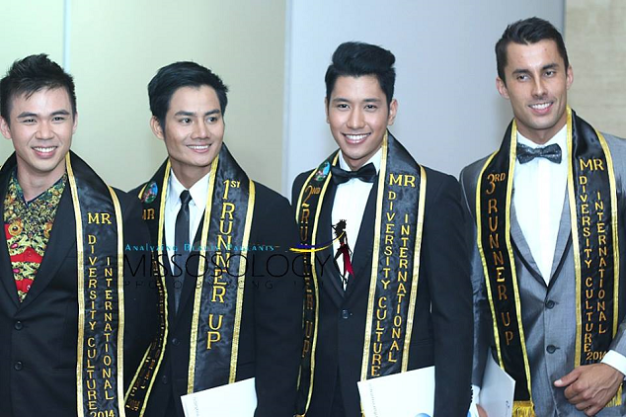 The Male Winners (left to right): Mr. Diversity Culture International 2014 Lew Voon Khong of Malaysia, 1st Runner up Yo Minh Thanh of Vietnam, 2nd Runner up, Rey Alvin Arranguez of the Philippines and 3rd Runner up- Jakub Halata of Czech Republic (Photo credit: Bong Tan of Missosology)