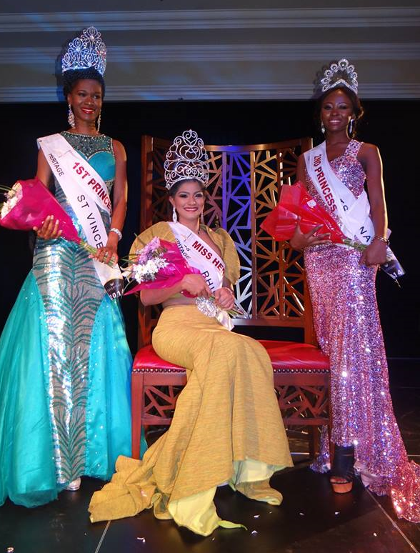 Left to right: 1st Runner-Up Anna La Borde of St. Vincent & the Grenadines, Miss Heritage 2014 Odessa Mae Tadaya of the Philippines and 2nd Runner-Up Katlego Mendry of Botswana