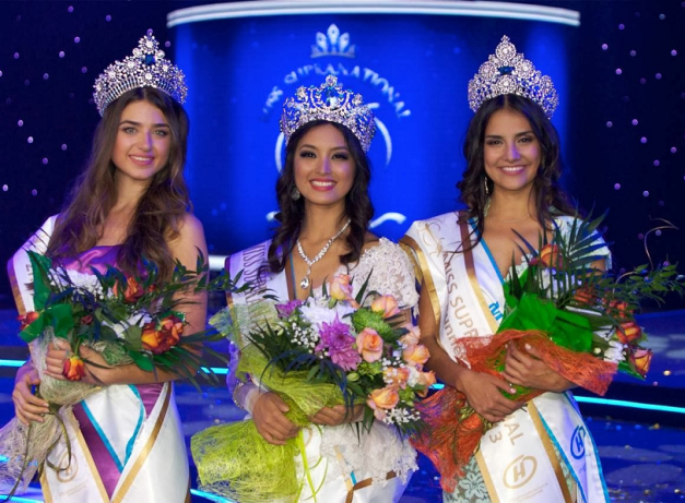 Left to right: 2nd Runner-Up Leyla Köse of Turkey, Miss Supranational 2013 Mutya Datul of the Philippines and 1st Runner-Up Jacqueline Morales of Mexico