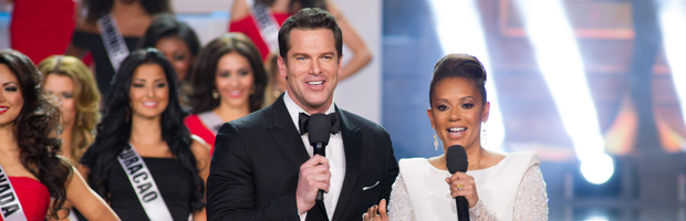 The tandem of Thomas Roberts (left) and Mel B. will return to host the 63rd Miss Universe Pageant in Doral Miami
