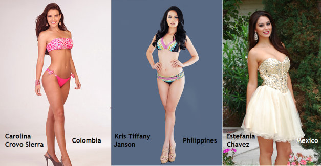 Colombia, Philippines and Mexico could provide a tought three-way battle for the title of Miss Intercontinental 2014