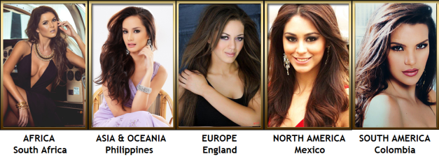 The five ladies above are the best in each continent, in my opinion.