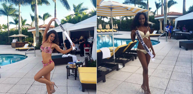 Melissa Gurgel of Brazil (left) and Jevon King of Trinidad & Tobago showing off their curves