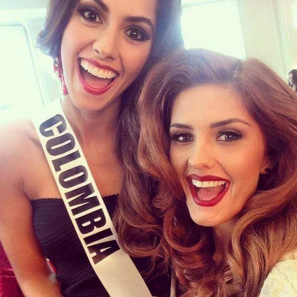 Miss Colombia Paulina Vega and Miss Serbia Andjelka Tomasevic give big smiles for the camera