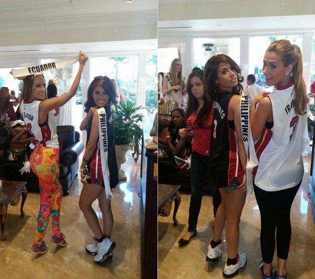 Miss Philippines with Miss Ecuador Alejandra Argudo (left photo) and with Miss France Camille Cerf