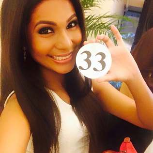 Nessha showing her official candidate number for Bb. Pilipinas 2015