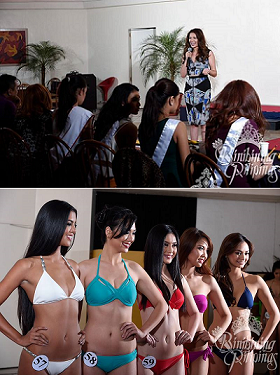 Toni (top photo) and Brenna (lower photo, 2nd from left) during their screening for Bb. Pilipinas 2015