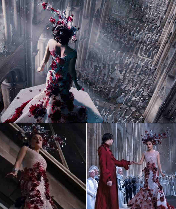 "Actress Mila Kunis wears a Michael 5inco creation in the movie ""Jupiter Ascending"""